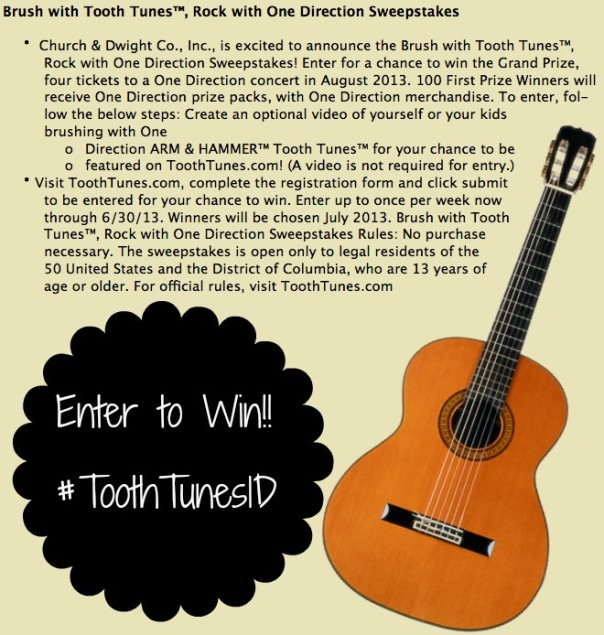 One Direction Arm & Hammer Sweepstakes #ToothTunes1D
